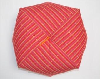 Ojami tsumugi striped orange-pink