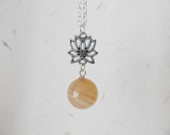 Lotus gemstone necklace, yoga necklace, gemstone necklace, lotus necklace