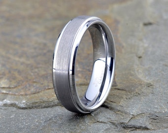 Tungsten Wedding Ring, mens Band, Brushed Ring, Mens Wedding Ring, Custom Engraved Ring, Wedding Band, Anniversary Ring,
