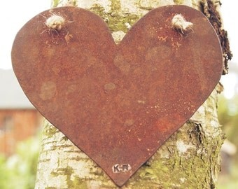 Hanging Rusty Heart plasma cut by hand