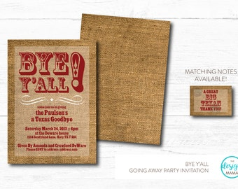 "Texas/Country Themed ""Bye Y'all"" Going Away/Moving Party Invitation"