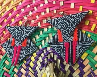 Hmong-Thailand/Vietnam/Laos-Handmade Fabric Earrings-Hmong fabric-Fabric Jewelry-Unique fun statement earrings-Hmong fabric earrings