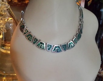 Sterling silver inlaid malachi necklace with matching earrings