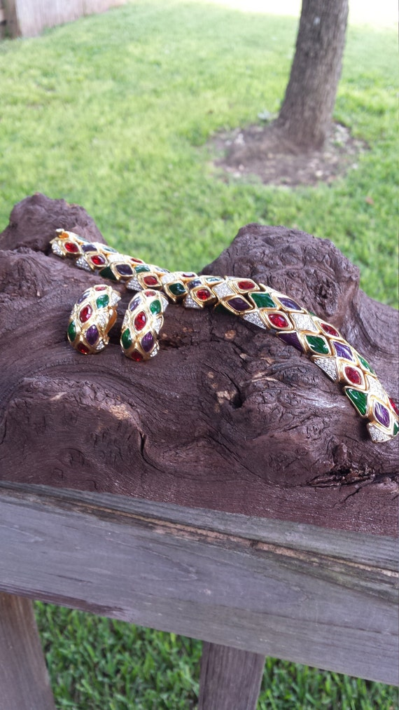 Bracelet and clip on earrings vintage swarosky set