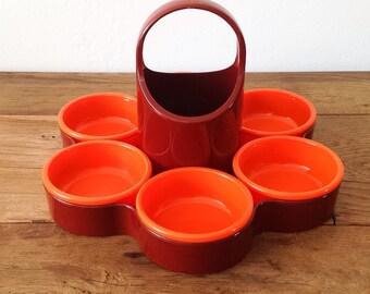 Vintage Emsa Snack Tray Retro Orange & Brown 70's West Germany Retro Kitchenware