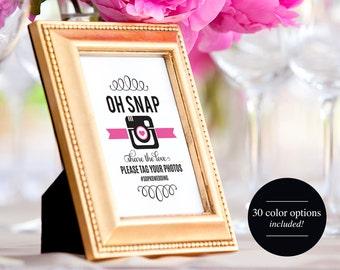 Wedding Hashtag Sign, Oh Snap Wedding Sign, Wedding Reception Sign, Wedding Printable, Template, PDF Instant Download #BPB236