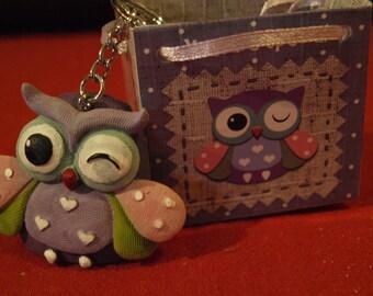 Purple Owl Keyring