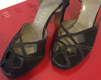 Vintage 1940s Chocolate Brown Suede Strappy Heels  - 6