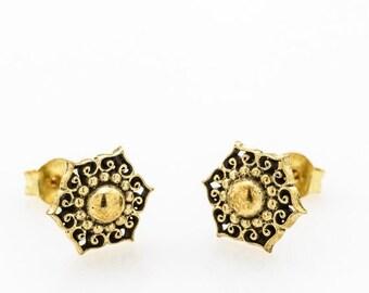 Tribal flower earrings. stud earrings. tribal stud earrings. flower earrings. flower earring studs. floral earrings. mandala earrings.triba