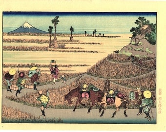 "Japanese Ukiyoe, Woodblock print, Katsushika Hokusai, ""Rich harvest with Mt.fuji"""