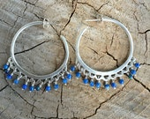 Hoop earrings with semi precious stone beads