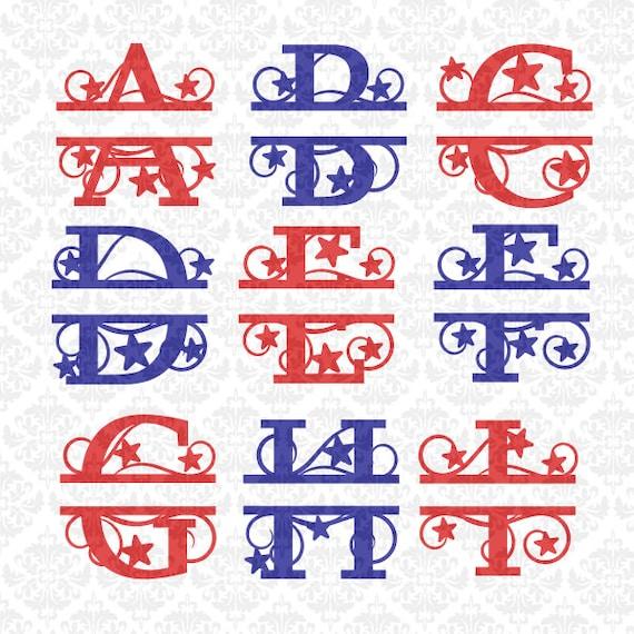 Split Monogram Svg, Split Svg, Split Monogram Letters Svg, Split Letters Svg, 4th Of July svg, Fourth of july svg, Cricut, Silhouette, File