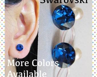 September Birthstone Crystal Clip on Earrings  C14s  Sapphire Blue Rhinestone Clip Earrings Non Metal Clip-ons Bridal Wedding clip Earrings
