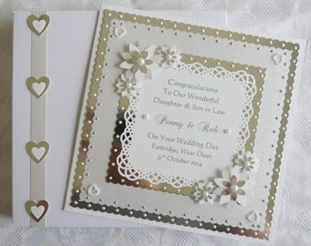Wedding Day Congratulations Card for Son/Daughter/Granddaughter/Grandson/Special Couple/Friends Large Handmade Personalised Boxed