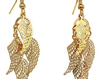 Fashion metal wings gold earrings