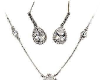 Elegant crystal droplets silver necklace earring set