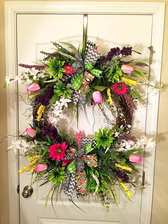 spring wreath summer wreath front door wreath outdoor. Black Bedroom Furniture Sets. Home Design Ideas