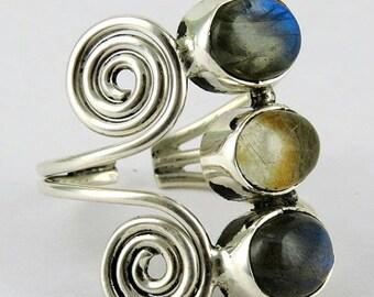 25% Off Sale Labradorite Ring - Handmade Ring - 925 Sterling Silver Ring - Rutile Quartz Ring - Three Stone Ring - Chunky Silver Ring - Adju