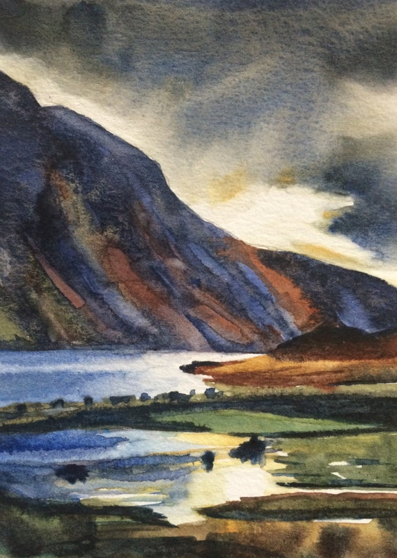 English landscape, Wast Water, Cumbria, Lake reflection