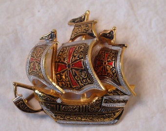 Damascene Ship Brooch/Pin Made in Spain