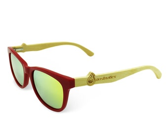 Boostnatics Bamboo Wood Boosted Turbo Shades/Sunglasses - Red / Polarized Gold