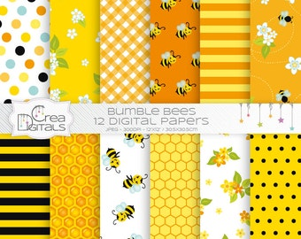 Bumble bees - 12 yellow digital papers - DIRECT DOWNLOAD