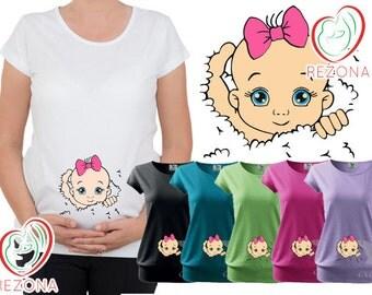 Maternity , Maternity clothes, Maternity Clothing, Maternity Shirt, Baby Pregnancy MATERNITY Shirt,Peekaboo, Peek a boo,Baby Girl Peeking