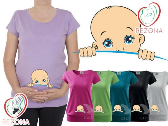 baby boy peeking maternity clothes baby shower maternity