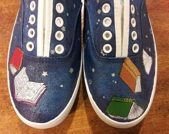 Hand painted stars and pages shoes
