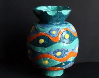 Ceramic vase sea waves