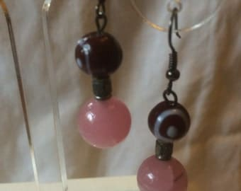 Red and white lampwork beaded earrings with tibetan silver