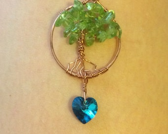 hand crafted tree love with heart pendant