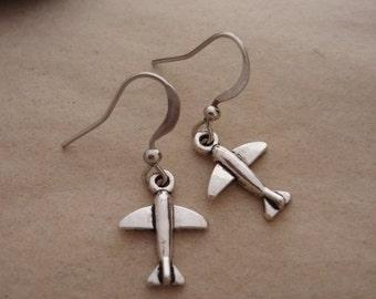 Airplane Earrings, Plane Charm, Travel Jewelry, Flight Earrings, Pilot, Flight Attendant, Flying