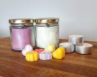 Handmade scented soy wax candle gift set - Mother's day gift set - hamper - Mini wax melts plus tealights - Various scents