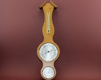 BAROMETER THERMOMETER HYGROMETER: Mahogany Airguide Weather Station Made in West Germany