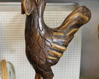 Vintage Hand Carved Wooden Rooster
