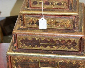 Unusual Pyramid of Drawers with Metal Decorative Edging and Pulls