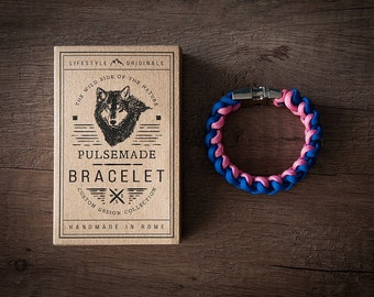 Men's bracelet-royal blue Woman-Pink unisex-Pulsemade Xark Collection-Handmade paracord 550 bracelet Mens-Womens Blue Royal-Pink