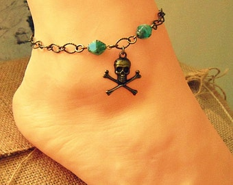 Pirate Anklet, Pirate Foot Jewelry, Pirate Jewelry, Pirate Accessories, Pirate Ankle Bracelet, Skull And Crossbones Anklet, Pirate Anklets