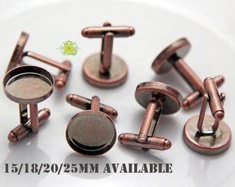 50~Round deep welled Cuff links-Wedding CUFF LINK Blanks-Round French Cufflink Blanks-Bezel Cuff link Trays for glass cabochon-15/18/20/25mm
