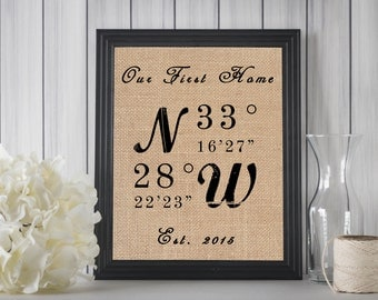 New Home Housewarming Gift // New Home Gift // House Warming Gift // GPS Coordinates Sign // House Location Sign