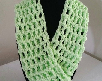 Cotton Crochet Infinity Scarf, 100% Cotton Scarf, Cowl, Circle Scarf