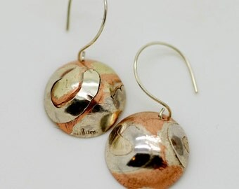 Inlaid Silver Earrings, Textured Copper Domes, Metalsmith, Fine Silver, Sterling Silver Earring Hooks, Designer Earrings, Rustic, Handmade