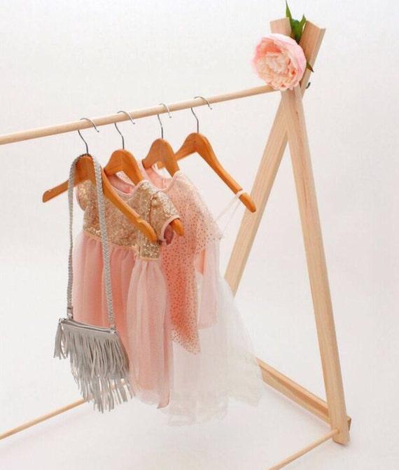 handmade children wooden clothing rack by hopeandjadehandmade. Black Bedroom Furniture Sets. Home Design Ideas