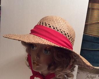 20% OFF SALE Vintage Wide Brim Natural Straw Gardening Hat