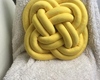 Yellow knot pillow sofa decor cozy cushion home