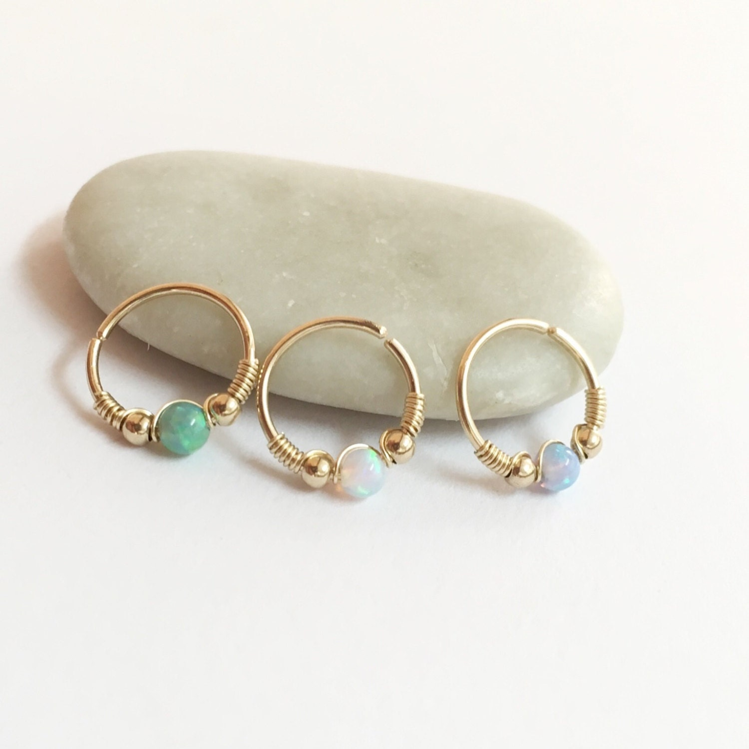 opal cartilage earrings set of 3 tiny cartilage earrings opal helix ring small 9515