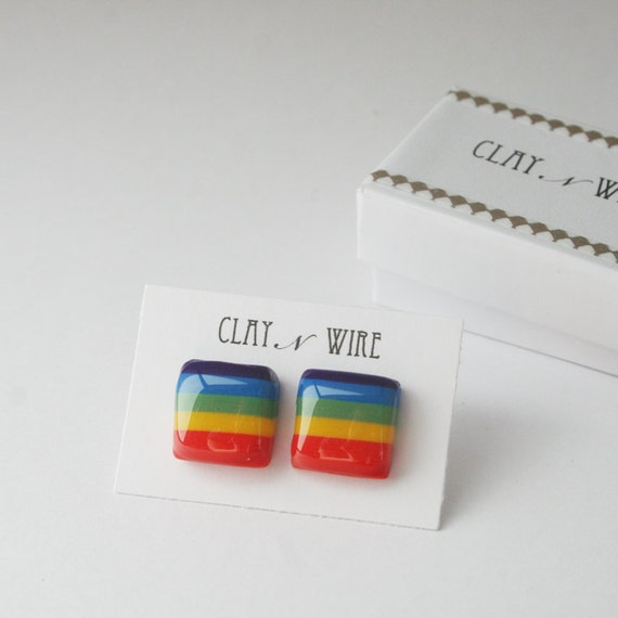 Square Rainbow Earrings from Clay N Wire