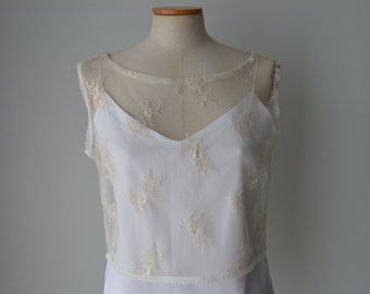 Clearance - 29% bridal lace, champagne lace top crop Top