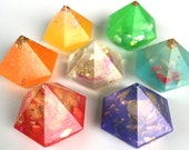 Pocket Sized Rainbow Orgonite Chakra Set of 8 Handmade Energy healing crystals for Reki, body, and home cleansing
